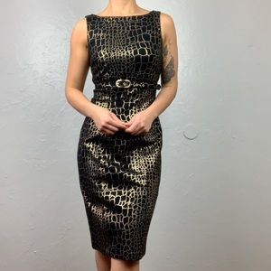 Caché black & gold animal print sheath dress sz 2